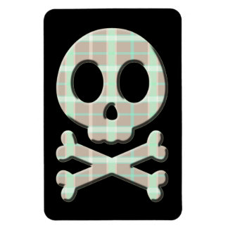 Taupe Plaid Skull Rectangle Magnets