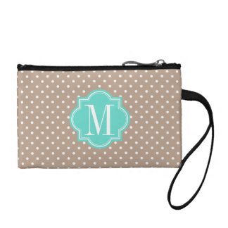 Taupe Polka Dot with Turquoise Monogram Change Purse