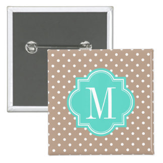 Taupe Polka Dot with Turquoise Monogram Pinback Button
