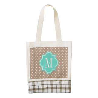 Taupe Polka Dot with Turquoise Monogram Zazzle HEART Tote Bag