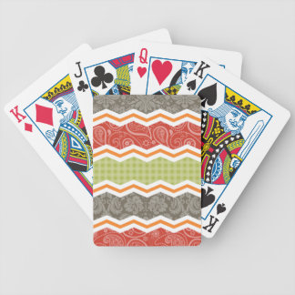 Taupe, Red, Green, and Orange Cute Country Bicycle Playing Cards
