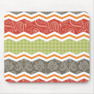 Taupe, Red, Green, and Orange Cute Country Mouse Pad