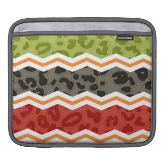 Taupe, Red, Green, and Orange Leopard iPad Sleeve