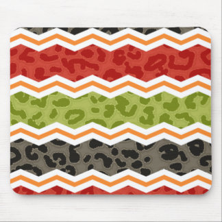 Taupe, Red, Green, and Orange Leopard Mouse Pad