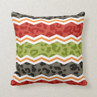 Taupe, Red, Green, and Orange Leopard Throw Pillow
