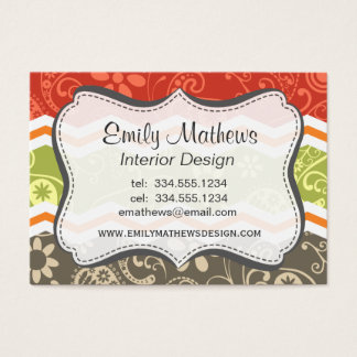 Taupe, Red, Green, and Orange Paisley Chevron Business Card