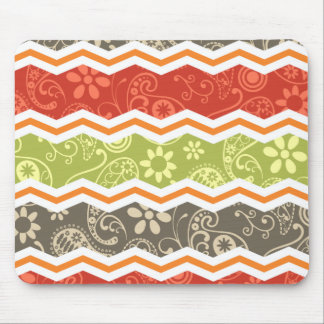 Taupe, Red, Green, and Orange Paisley Chevron Mouse Pad
