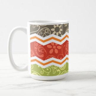 Taupe, Red, Green, and Orange Paisley Chevron Coffee Mug