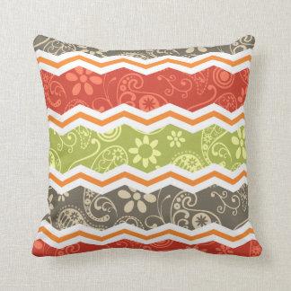 Taupe, Red, Green, and Orange Paisley Chevron Throw Pillow