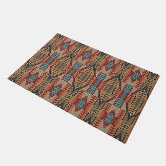 Taupe Red Orange Teal Tribal Mosaic Pattern Doormat