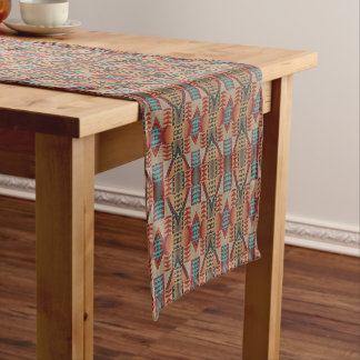 Taupe Red Orange Teal Tribal Mosaic Pattern Long Table Runner