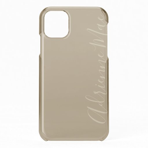 Taupe Satin Personalized iPhone 11 Case