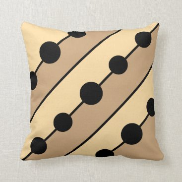 sterlingnights Taupe Tan Black stripes circles beaded beige Throw Pillow