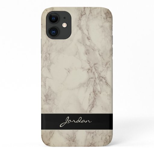 Taupe Tan Polished Marble Stone with Name iPhone 11 Case