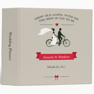 Taupe Tandem Bicycle Wedding Planning Binder