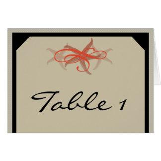 Taupe Tangerine Seaside Wedding Table Number tent