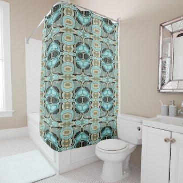 BathingAndBeaching Taupe Teal Aqua Turquoise Bali Batik Pattern Shower Curtain