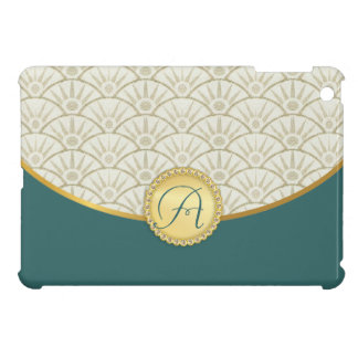 Taupe Teal Gold Girly Damask Pattern Cover For The iPad Mini