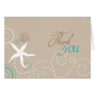 Taupe Teal White Beach Wedding Thank You Card