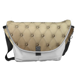 Taupe Tuft Leather Buttons Plush Buckskin Courier Bag