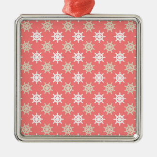 Taupe White and Coral Ships Wheel Nautical Pattern Metal Ornament