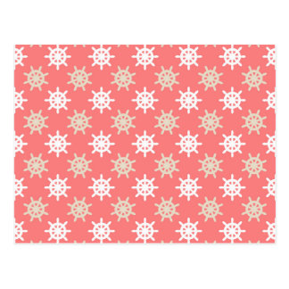 Taupe White and Coral Ships Wheel Nautical Pattern Postcard