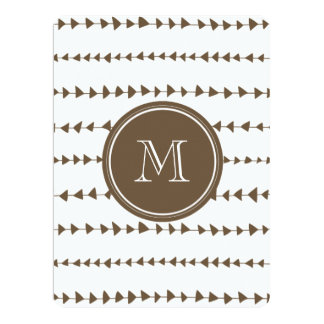Taupe White Aztec Arrows Monogram 6.5x8.75 Paper Invitation Card