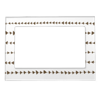 Taupe White Aztec Arrows Pattern Magnetic Picture Frame