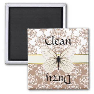 Taupe & White Damask Butterfly Dishwasher Magnet