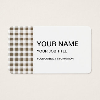 Taupe White Gingham Pattern Business Card