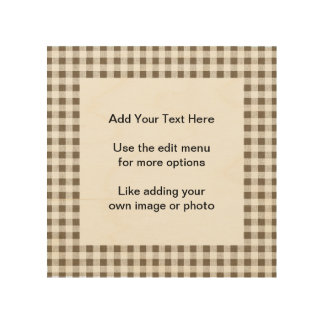 Taupe White Gingham Pattern Wood Wall Decor