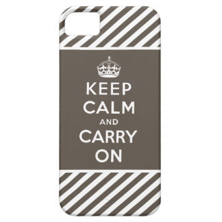 Taupe White Keep Calm and Carry On iPhone 5 Case