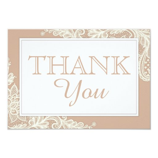 Taupe White Lace Modern Wedding Thank You Card