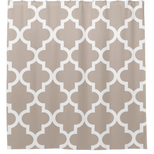 Taupe White Quatrefoil Pattern Shower Curtain