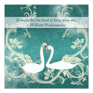 Taupe white vintage swans wedding card