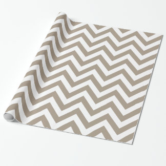 Taupe White XL Chevron ZigZag Pattern Wrapping Paper