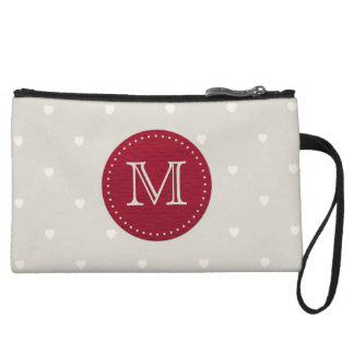 Taupe with White Hearts and Red Center Monogram Wristlet Wallet