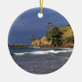 Tauranga Bay Pohutukawa trees coast New Zealand Double-Sided Ceramic Round Christmas Ornament