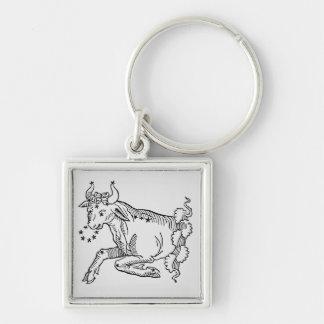 Tauro (Bull) un ejemplo del 'poético Llavero Cuadrado Plateado