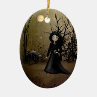 Tauro - chicas del zodiaco - ornamento adorno navideño ovalado de cerámica