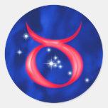 Tauro de la muestra del zodiaco pegatina redonda