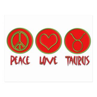 Tauro del amor de la paz tarjeta postal