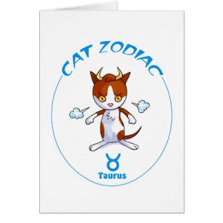 Tauro del gato del zodiaco tarjeta pequeña