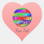 Tauro el corazón del rosa del color del arco iris colcomanias de corazon personalizadas