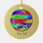 Tauro la medalla del cumpleaños del arco iris del ornaments para arbol de navidad