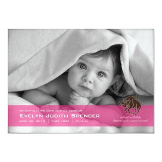 Tauro la tarjeta de la invitación del nacimiento