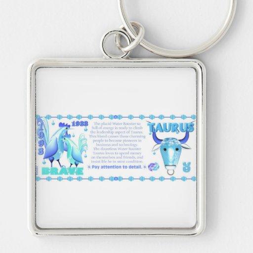 Tauro llevado gallo 1993 del agua del zodiaco de V Llavero Cuadrado Plateado