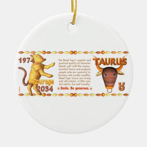 Tauro llevado zodiaco del tigre de madera 2034 de  ornatos