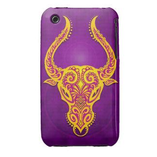 Tauro tribal púrpura y amarillo complejo iPhone 3 Case-Mate cárcasas