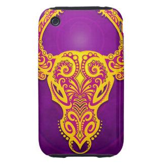 Tauro tribal púrpura y amarillo complejo, tough iPhone 3 cárcasa
